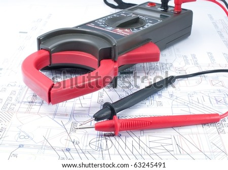 Voltage tester on  diagram - stock photo