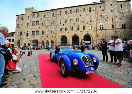 VOLTERRA (PI), ITALY - SEPTEMBER 19: A blue Healey Silverstone takes part in the GP Nuvolari classic car race on September 19, 2015 in Volterra (PI). The car was built in 1949. - stock photo