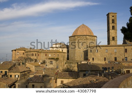 Volterra - Tuscany. View on Cathedral of Santa Maria Assunta, baptistery and bell tower - Italy Volterra is an important Etruscan center.""