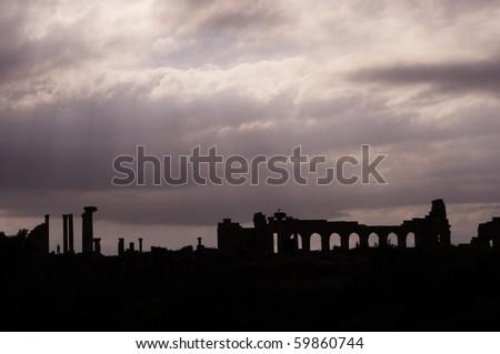 Volubilis - Roman ruins near Fez and Meknes - Best of Morocco - stock photo