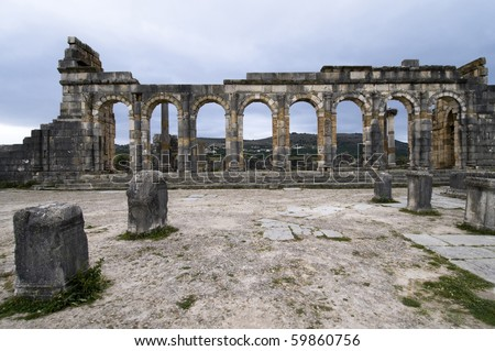 Volubilis - Roman ruins near Fez and Meknes - Best of Morocco - stock photo
