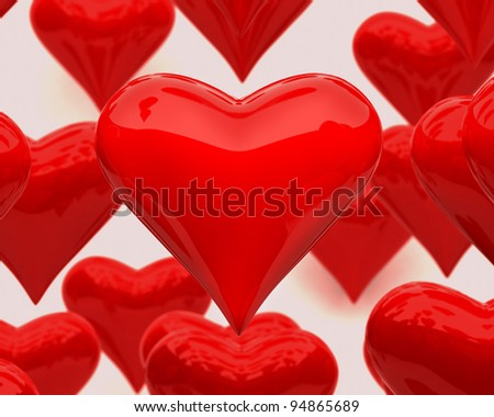 Volume brilliant heart of hearts on a background of other - stock photo