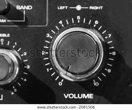 volume control on old ghetto blaster - stock photo