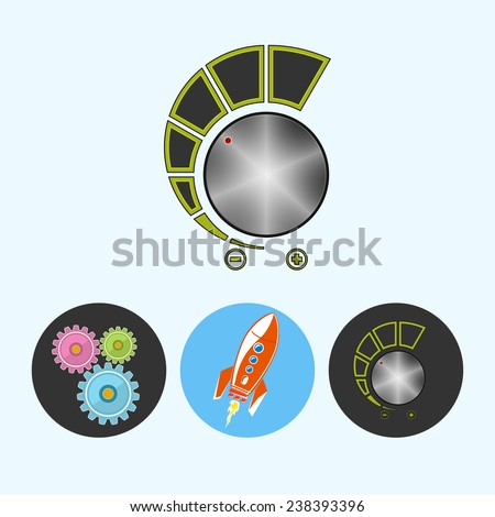 Volume control .  Set from 3 round colorful icons, gears ,  rocket , volume control, power control icon