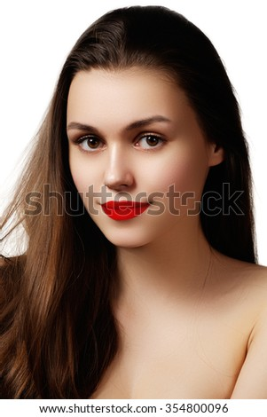 Volume Hair. Beauty Woman with Very Long Healthy and Shiny Smooth Brown Hair. Model Brunette Girl Portrait isolated on a white background. Gorgeous Hair
