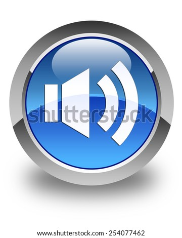 Volume icon glossy blue round button - stock photo