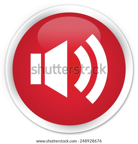 Volume icon red glossy round button - stock photo