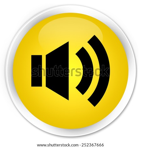 Volume icon yellow glossy round button - stock photo
