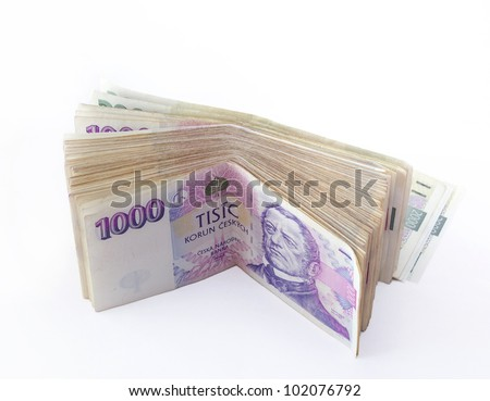 volume of czech banknotes nominal value one thousand crowns on white background - stock photo