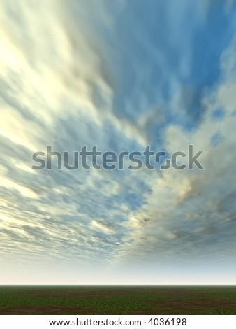 Volumetric clouds - stock photo