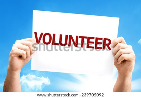 Volunteer card with a beautiful day - stock photo