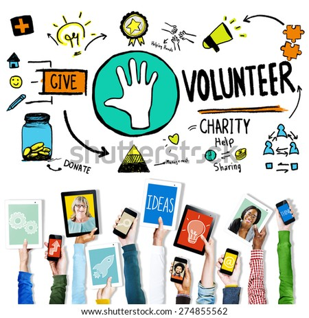 Volunteer Charity Help Sharing Giving Donate Assisting Concept - stock photo