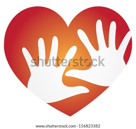Volunteer, Charity or Donation Concept Present By Red Heart With White Hand Inside Isolated On White Background  - stock photo