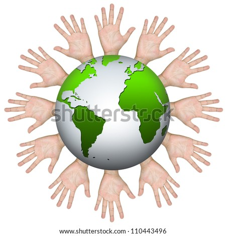 Volunteer Concept, Many Hand Around The Green World Isolated on White Background