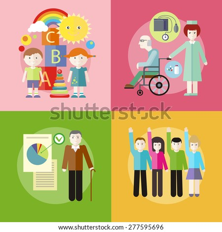 Volunteer group raising hands against. Grandpa with documents of social benefits. Nurse taking care of senior patient in wheelchair. Kids playing construction in the room. Raster version - stock photo