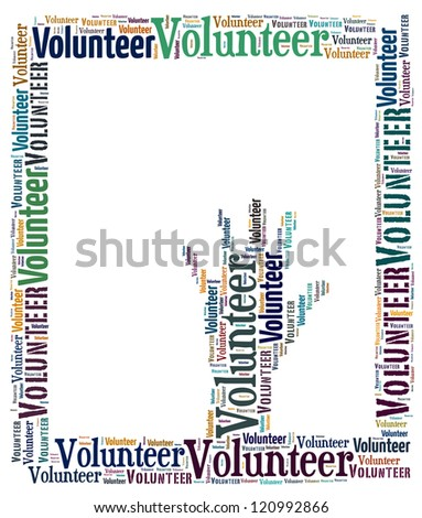 Volunteer info-text graphics arrangement concept on white background