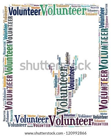 Volunteer info-text graphics arrangement concept on white background - stock photo