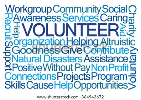 Volunteer Word Cloud on White Background - stock photo