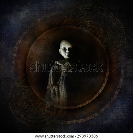 Voodoo Child with sinister doll-like figure materialising against a dark shadowy background surrounded by mysterious occult symbolism. - stock photo