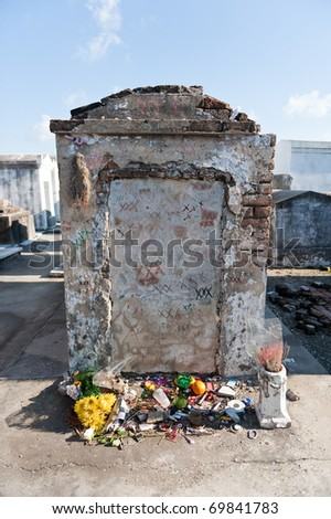Voodoo Grave in New Orleans Cemetary - stock photo