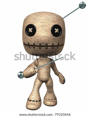 Voodoo HooDoo doll with button eyes a magic pin stuck in his head attacks with another pin in hand. Isolated illustration cutout on clean white background. - stock photo
