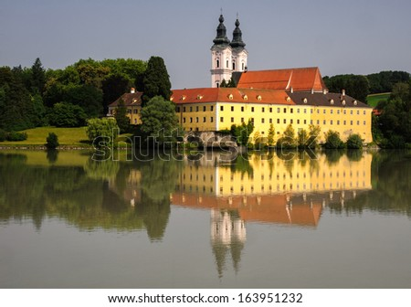 Vornbach abbey at the bank of Danube in Bavaria, Germany - stock photo