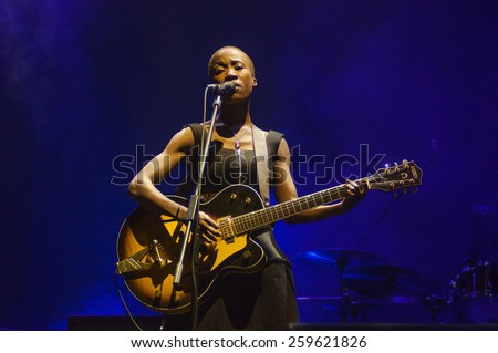VORONEZH, RUSSIA - JUNE 10, 2014: Folk-rock singer Rokia Traore on her first Russian concert during Platonov Art Festival