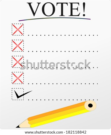 Vote ballet paper with options - stock photo