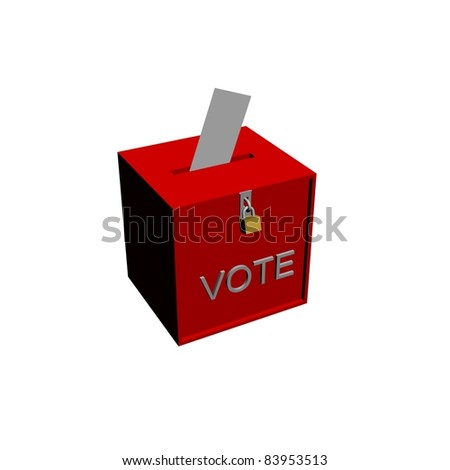 vote box with envelope - stock photo