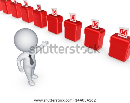 Vote boxes.Isolated on white.3d rendered. - stock photo