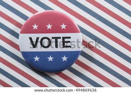 Vote button against a background of red, white and blue