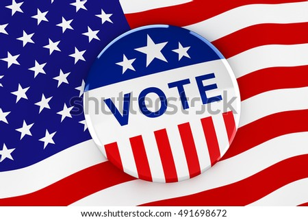 Vote button on American flag background - 3d rendering