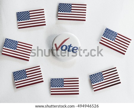 Vote button with check and US flags