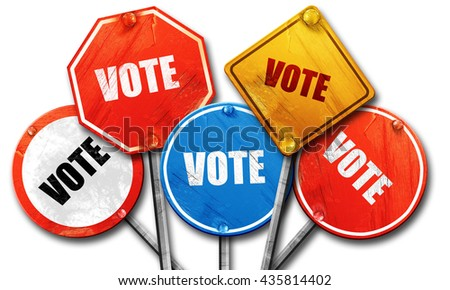 vote, 3D rendering, rough street sign collection - stock photo