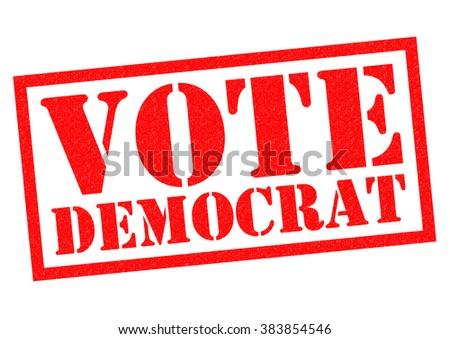 VOTE DEMOCRAT red Rubber Stamp over a white background. - stock photo