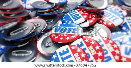 vote election badge button for 2016 background - stock photo
