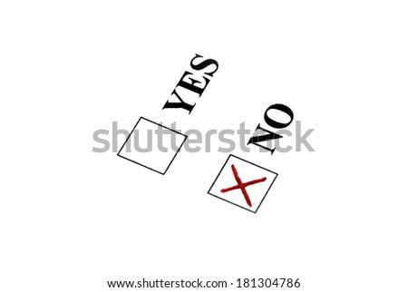 Vote for no, red sign in no box. - stock photo