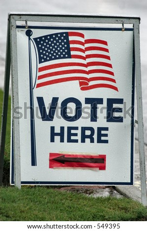Vote Here Sign - stock photo