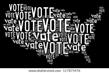 Vote info-text graphics arrangement concept composed in United State map shape on black background - stock photo