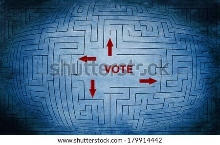 Vote maze - stock photo