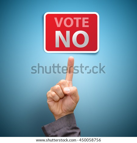 Vote no concept : finger Pointing to vote no - stock photo