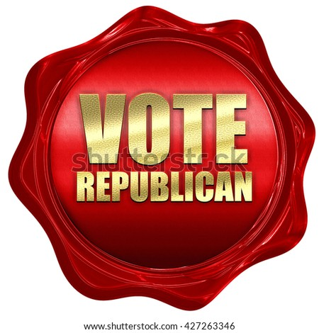 vote republican, 3D rendering, a red wax seal - stock photo