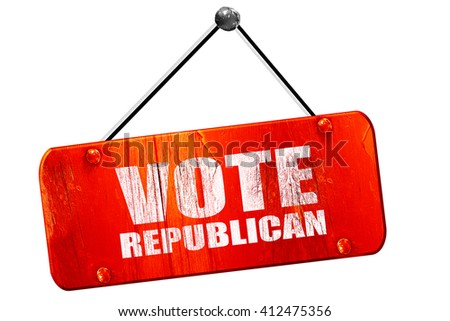 vote republican, 3D rendering, vintage old red sign - stock photo