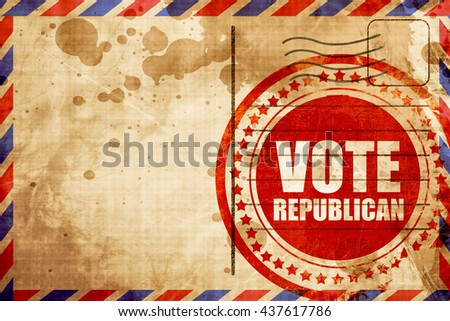 vote republican, red grunge stamp on an airmail background - stock photo