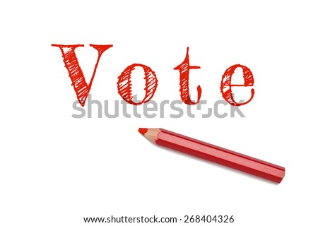 Vote sketch text written red pencil white background. Concept vote, election, choice. - stock photo