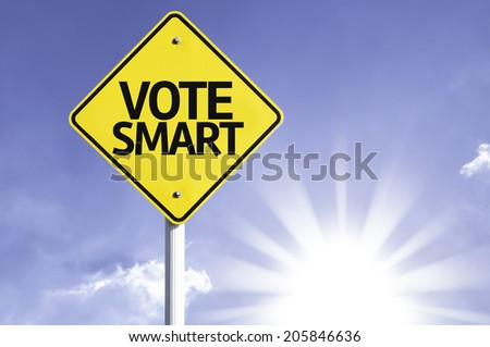 Vote Smart road sign with sun background - stock photo