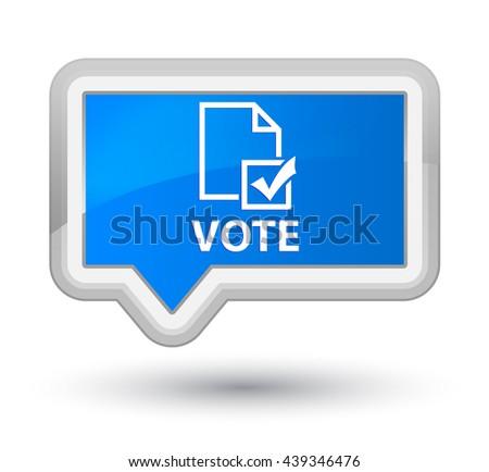 Vote (survey icon) cyan blue banner button - stock photo