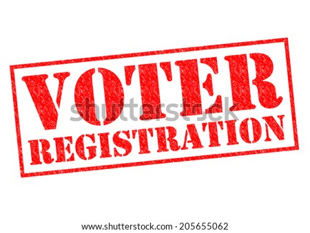 VOTER REGISTRATION red Rubber Stamp over a white background. - stock photo