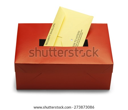 Voting Box with Security Envelope Isolated on White Background. - stock photo