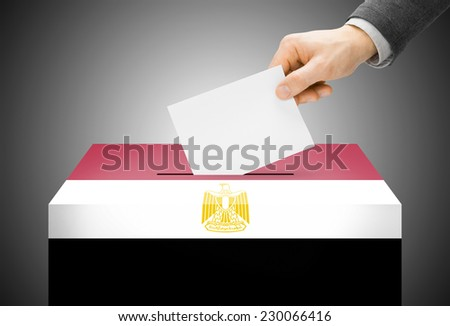 Voting concept - Ballot box painted into national flag colors - Egypt - stock photo